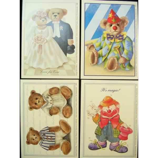 LOT DE 4 CARTES CARTONNES 9*13CM : ourson et clown - Photo n°1