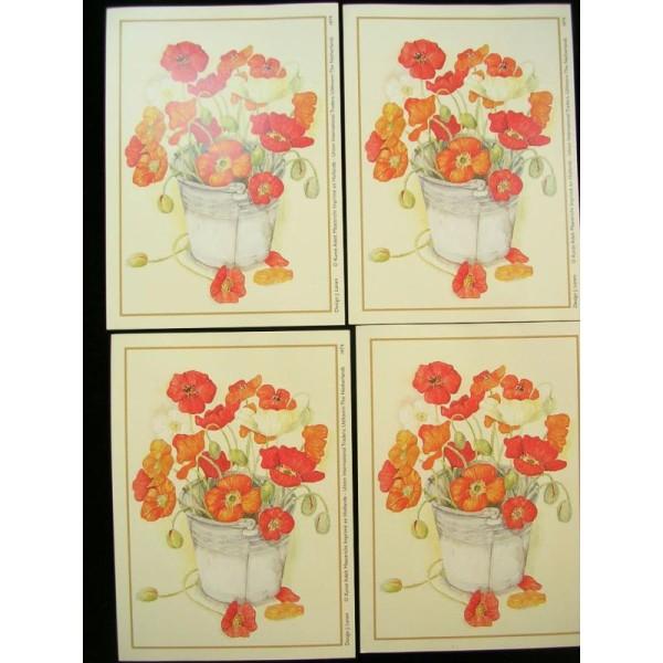 LOT DE 4 CARTES CARTONNES 9*13CM : fleur rouge dans un seau métal - Photo n°1