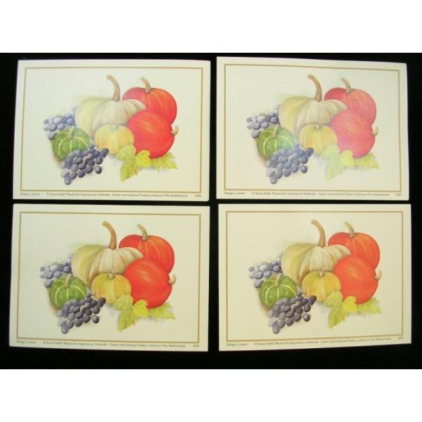LOT DE 4 CARTES CARTONNES 9*13CM : potiron, raisin, citrouille - Photo n°1