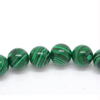 MALACHITE VERITABLE : 10 pierres semi-precieuses rondes 6mm