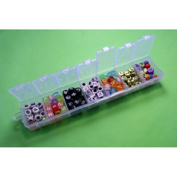 Boite à compartiments avec 200 perles alphabets (7 modèles perles differentes) - Photo n°1