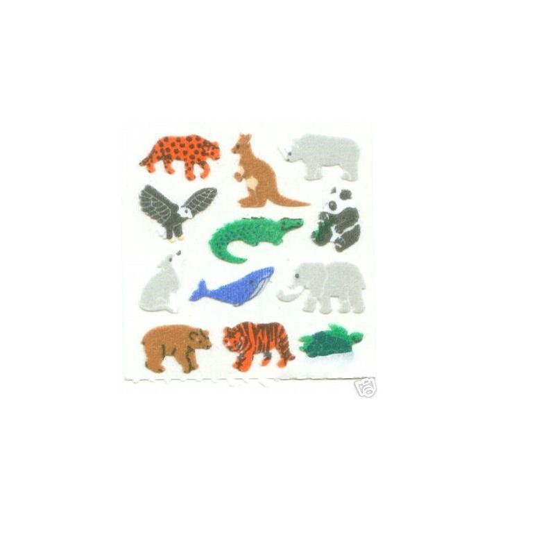 36 minis stickers tissus sur feuille 5 16cm motif animaux sauvages de 14 20mm gommette. Black Bedroom Furniture Sets. Home Design Ideas