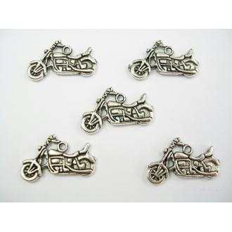 LOT  5 CHARMS METALS ARGENTES : moto 24mm