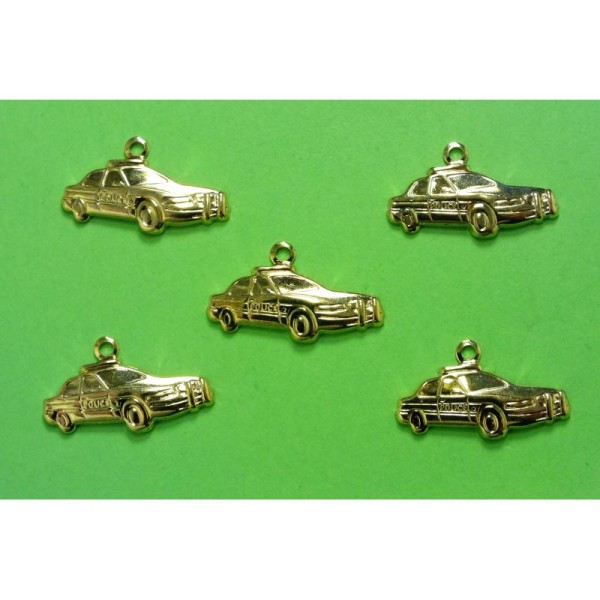 LOT  5 CHARMS METALS DORES : voiture 19mm - Photo n°1