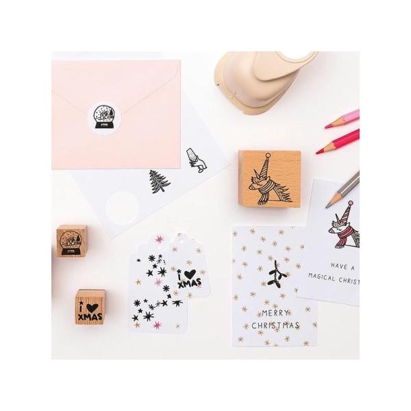 Set de 8 Tampons + Encreur Noir - MAGICAL CHRISTMAS Licorne - Photo n°2