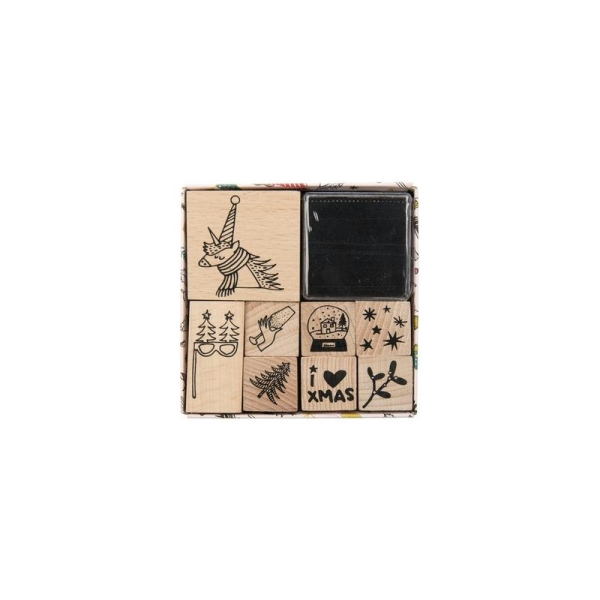 Set de 8 Tampons + Encreur Noir - MAGICAL CHRISTMAS Licorne - Photo n°1