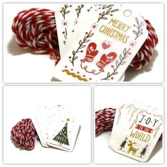5 étiquettes cadeau pour Noël et cordelette Baker twine rouge/blanc
