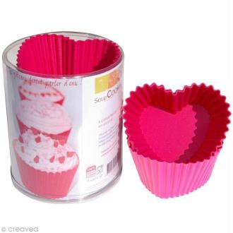 Caissettes cupcakes en silicone coeur x 6