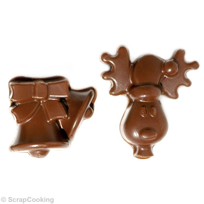 moule en silicone chocolats de no l moule chocolat creavea. Black Bedroom Furniture Sets. Home Design Ideas