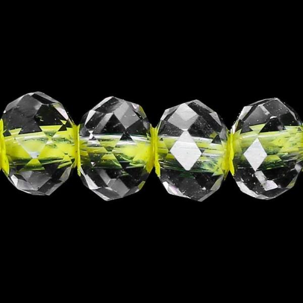 40 Perles Toupies en Verre 4mm Jaune