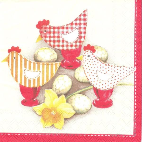 4 Serviettes en papier Pâques Poule Oeuf Format Lunch - Photo n°1