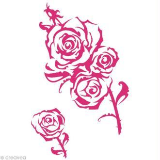 Pochoir MyStyle pour textile Rose et épines 21 x 29,7 cm