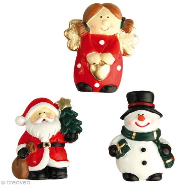 Figurine Personnage de Noël en résine x 3 - Photo n°1