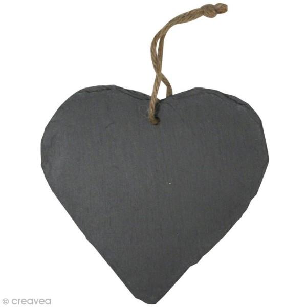 Coeur en ardoise à suspendre 15 cm - Photo n°1