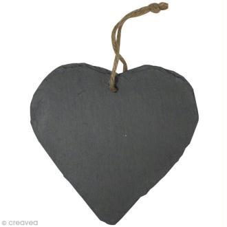 Coeur en ardoise à suspendre 15 cm