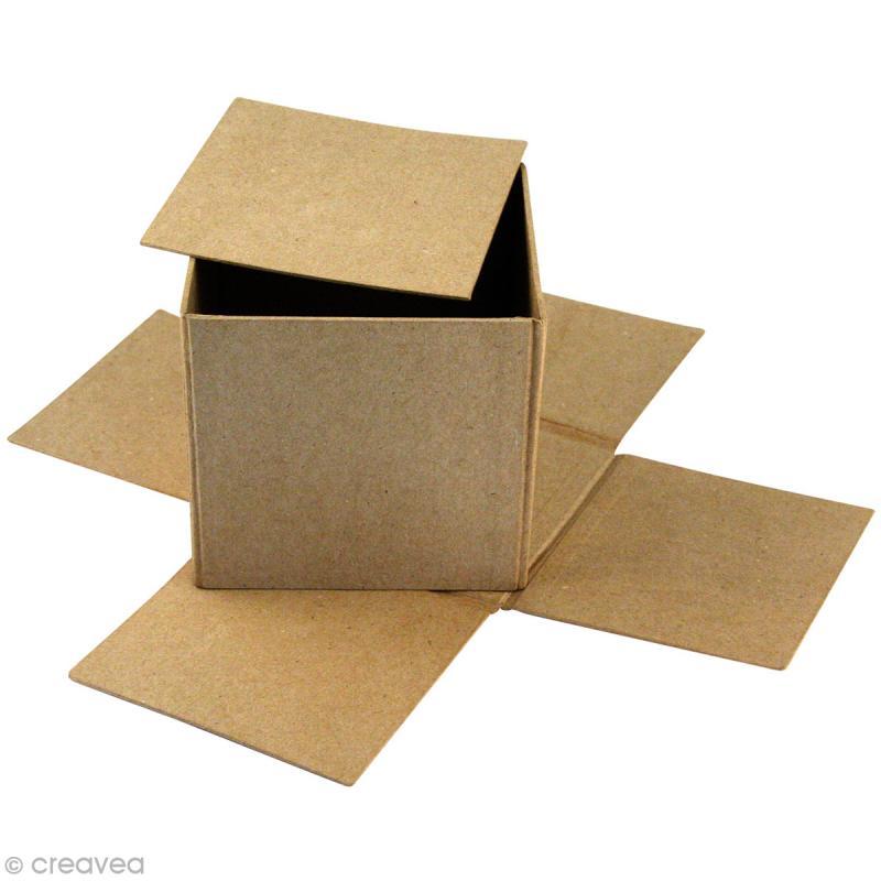 bo te recouvrir 12 x 12 x 11 cm en papier m ch petit mod le boite en papier mach. Black Bedroom Furniture Sets. Home Design Ideas