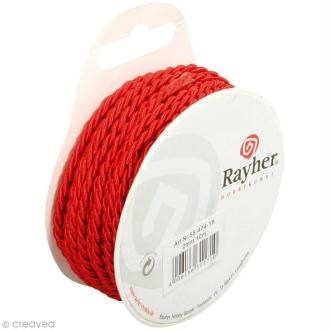 Cordon tressé rouge - 3 mm x 10 m