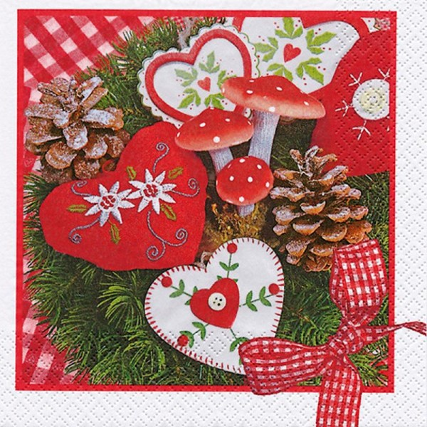Serviette en papier Noël Coeurs brodés - Photo n°1