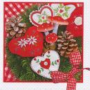 Serviette en papier Noël Coeurs brodés