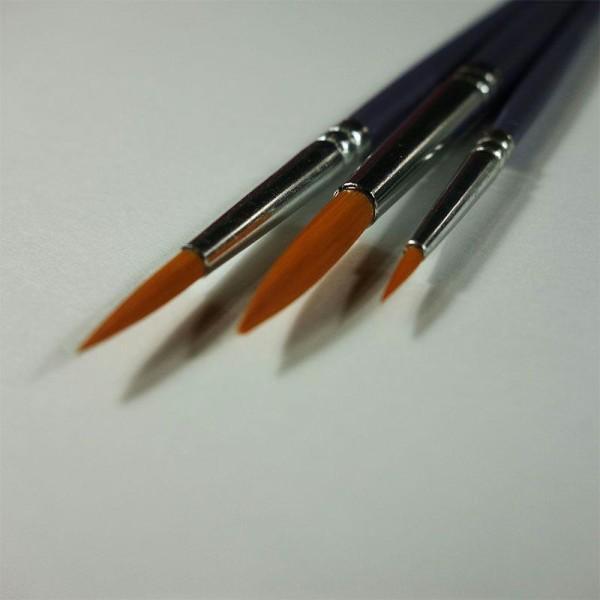 Pinceaux loisirs créatifs: Set de 3 pinceaux polyamide doré ronds - Photo n°2