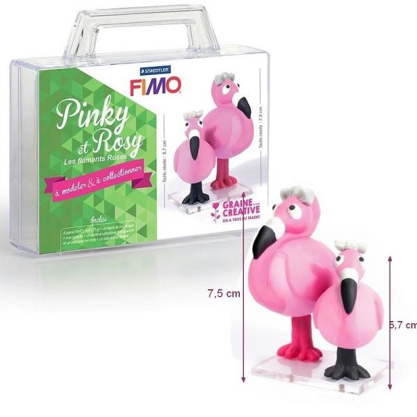 Kit 2 figurines pâte Fimo, Flamants roses, 4 pains Fimo, 7.5 et 5.7 cm de haut, à modeler - Photo n°1
