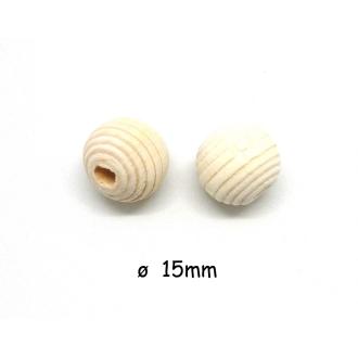 10 Perles En Bois Ronde Strié 15mm De Couleur Bois Naturel, Beige