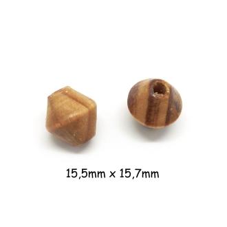 10 Perles En Bois Toupie 15mm De Couleur Marron Noisette Rayé