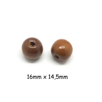 20 Perles En Bois Ronde 16mm De Couleur Marron Chatain Noisette à Gros Trou