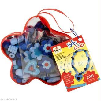 Kit perles en bois- Magie des fleurs bleu
