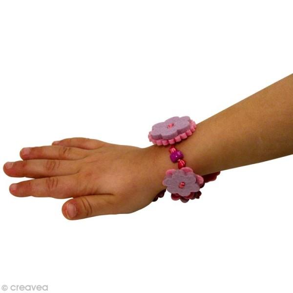 Kit bracelet en feutrine rose et mauve - Sarah - Photo n°3