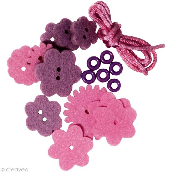 Kit bracelet en feutrine rose et mauve - Sarah - Photo n°4