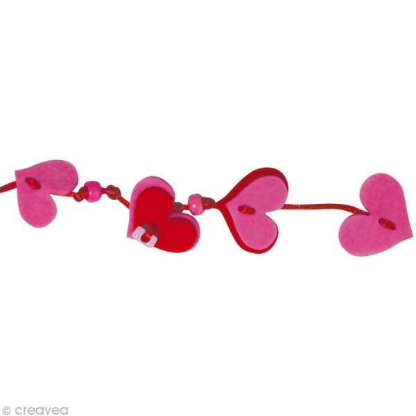 Kit bracelet en feutrine fuchsia et rouge - Nina - Photo n°2