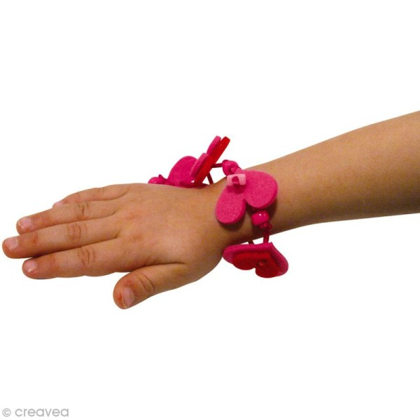 Kit bracelet en feutrine fuchsia et rouge - Nina - Photo n°3