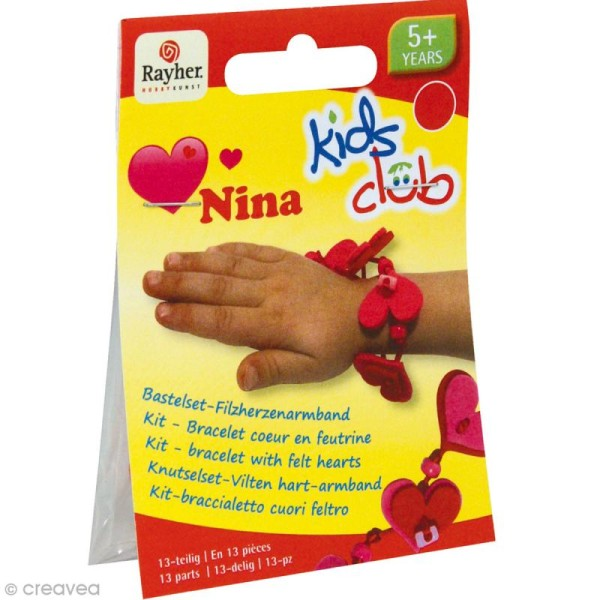 Kit bracelet en feutrine fuchsia et rouge - Nina - Photo n°1