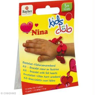 Kit bracelet en feutrine fuchsia et rouge - Nina