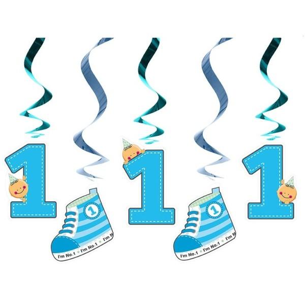 Suspensions 1er âge anniversaire (x5) bleu - Photo n°1
