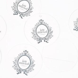 Etiquettes rondes  Just Married (x10) blanc / argent
