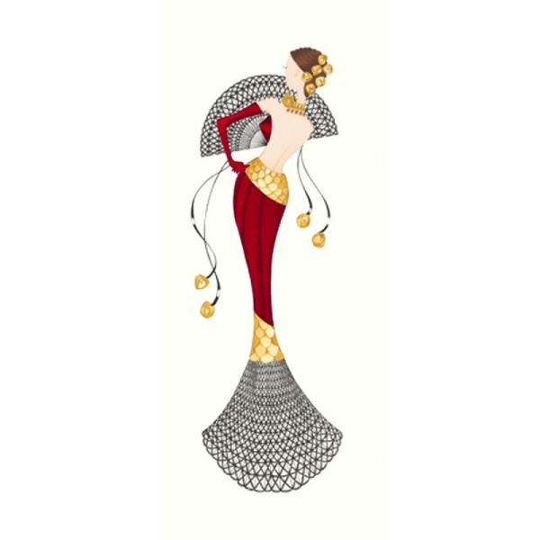 Image 3D Femme en robe rouge et éventail 20 x 50 cm - Photo n°1
