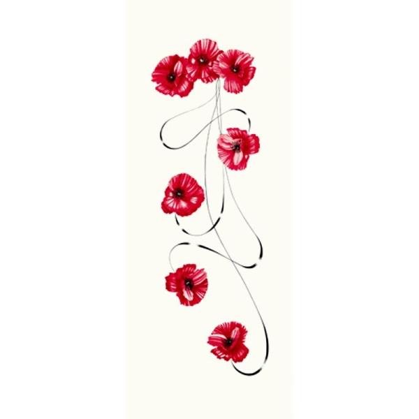 Image 3D Fleur - Coquelicot et volute 20 x 50 cm - Photo n°1