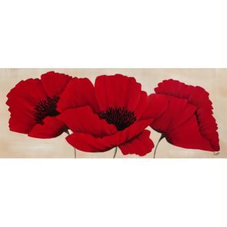 Image 3D Fleur - 3 coquelicots rouges 20 x 50 cm