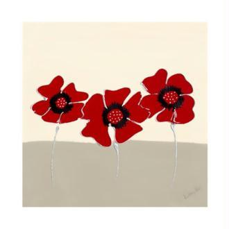 Image 3D scrap 3 coquelicots rouges 30 x 30 cm
