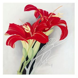 Image 3D Fleur - Lys rouge 40 x 40 cm