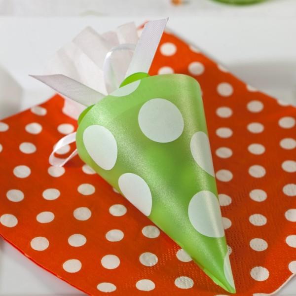 Serviettes à pois (x20) orange / blanc - Photo n°3