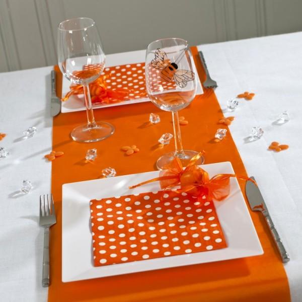 Serviettes à pois (x20) orange / blanc - Photo n°4
