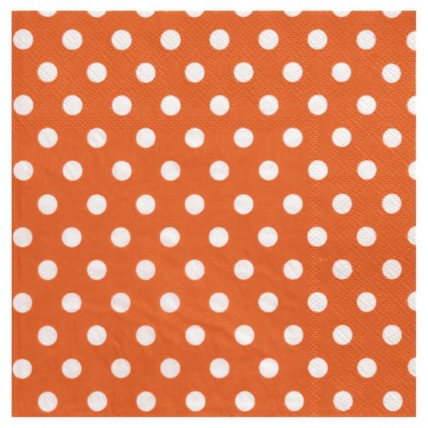 Serviettes à pois (x20) orange / blanc - Photo n°1