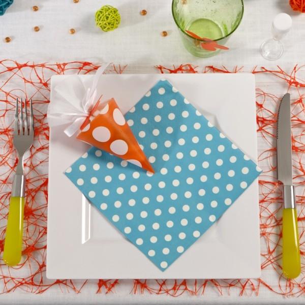 Serviettes à pois (x20) turquoise / blanc - Photo n°2