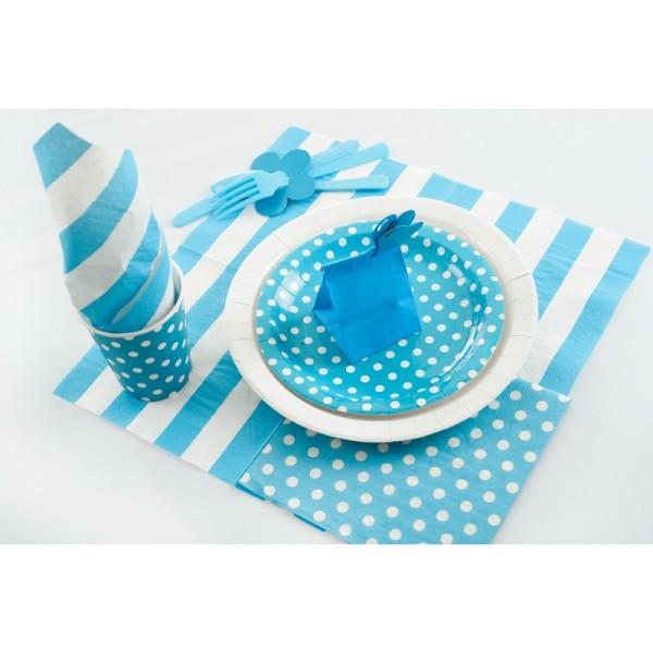 Serviettes à pois (x20) turquoise / blanc - Photo n°4