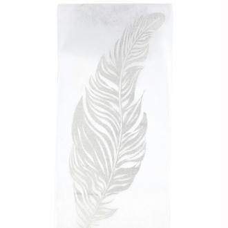 Chemin de table plumes pailletées blanc / argent