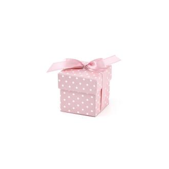 Boites cubes plumetis x10 rose / blanc