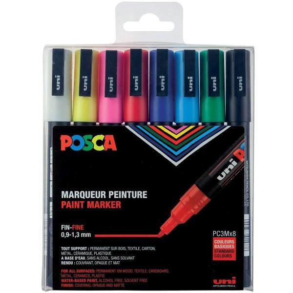 Boîte de 8 marqueurs Posca - Assortiment de base 1,5 mm - Photo n°1